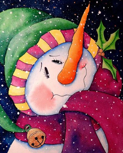 "Original Watercolor Painting Whimsical Winter Fantasy Jingle Bell Snowman 8x10"" tierno elmuñeco de nieve"