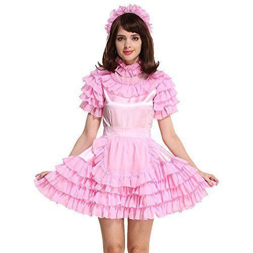 Crossdresser Lockable Sissy Maid Dress Satin Pink Costume by Gocebaby