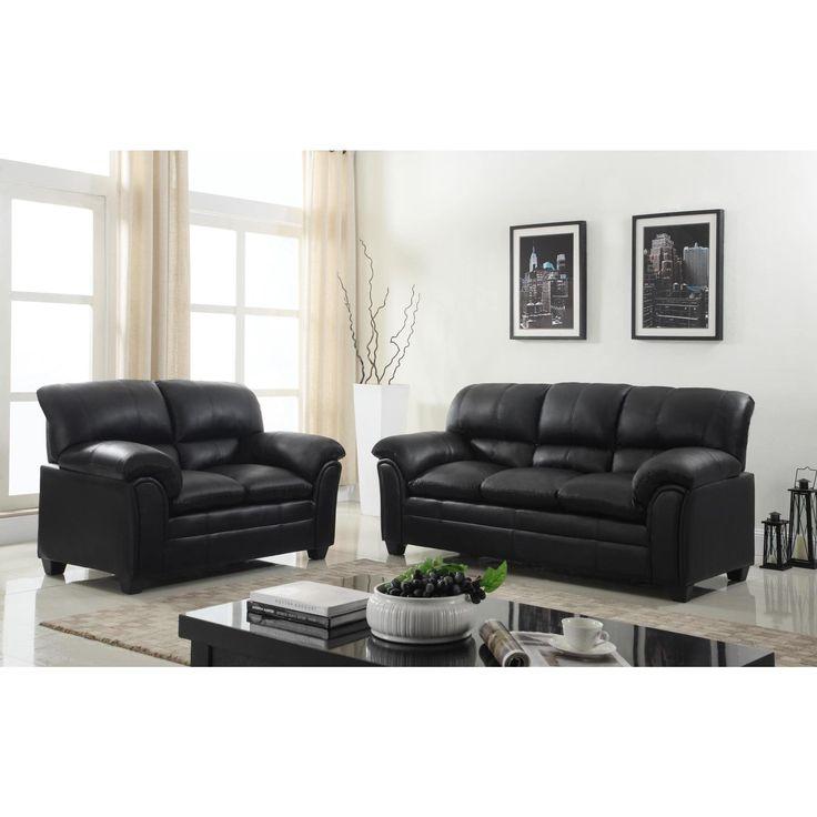 black leather living room furniture sets%0A Faux Leather Sofa and Loveseat Living Room Furniture Set