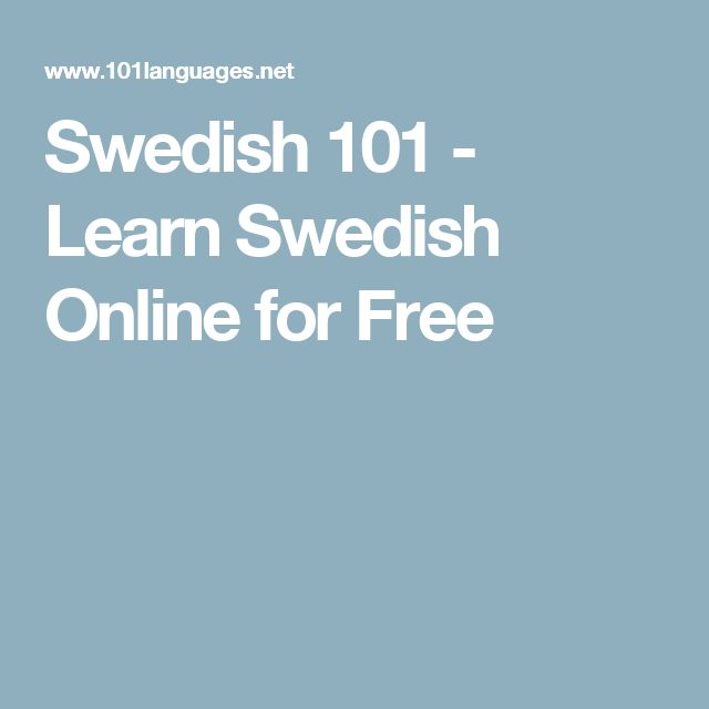 Swedish 101 - Learn Swedish Online for Free
