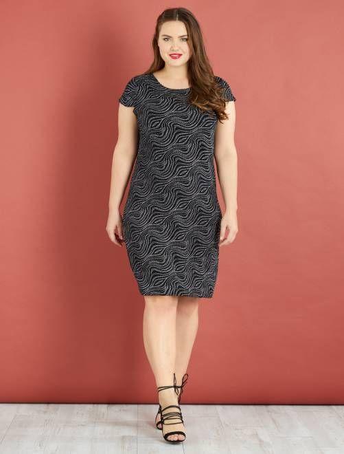 Robe droite motifs en strass                             noir/argent Grande taille femme   - Kiabi