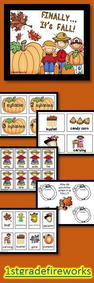 https://www.teacherspayteachers.com/Product/FINALLY-Its-FALL-865163  Fall themed packet includes: -Fall vocabulary : syllables -Graphic Organizers -Writing Paper -HFW Matching Game -ABC Order -Poem -Pocket Chart Cards for Poem Grades 1 & 2