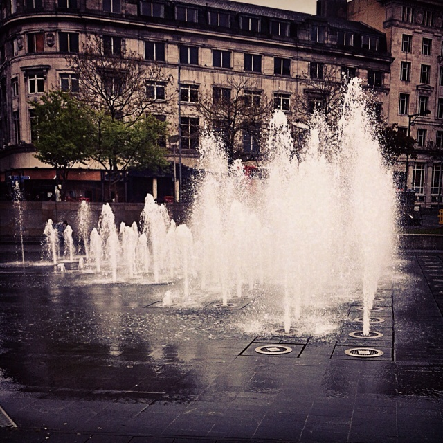 Lovely shot of Piccadilly Gardens fountain.