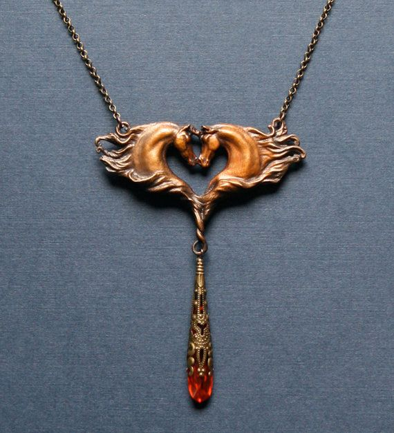 solid cast bronze horse necklace with red cubic by JanVanEkStudios, $155.00