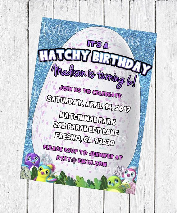 Digital Hatchimal Birthday Party Invitation Hatchimals Supplies