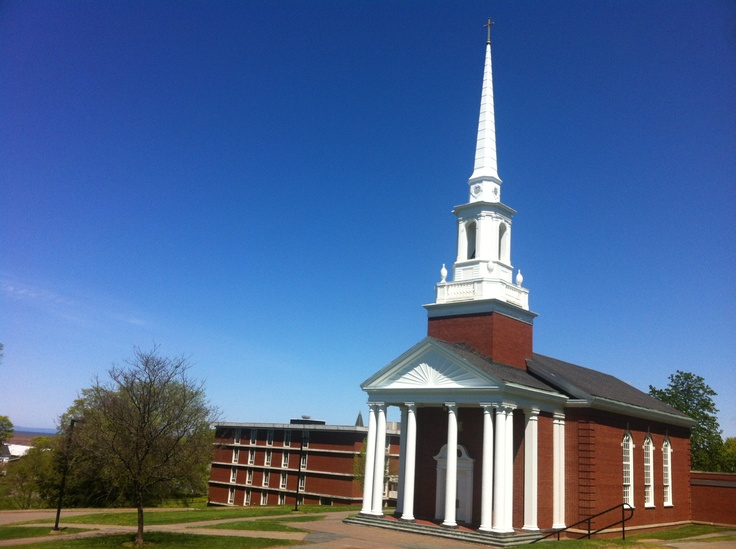 Manning Memorial Chapel on a gorgeous spring day! Multiple non-denominational services are held throughout the week during the school year.