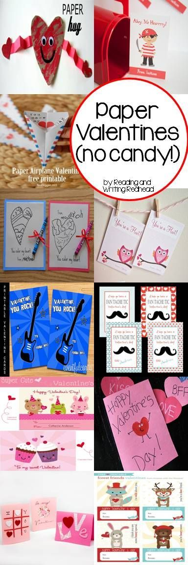 Looking for some Valentine ideas? Here are some ideas for no candy valentines that are also paper only. For more like this check out my blog at http://www.readingandwritingredhead.com and sign up for my monthly newsletter for a freebie: http://eepurl.com/DFyuj .