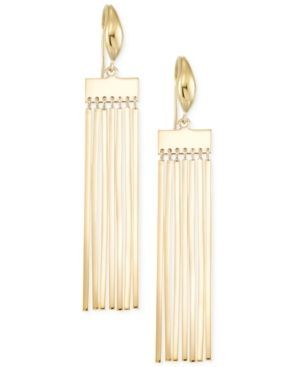 Sis by Simone I Smith Fringe Bar Tassel Drop Earrings in 18k Gold Over Sterling Silver - Gold