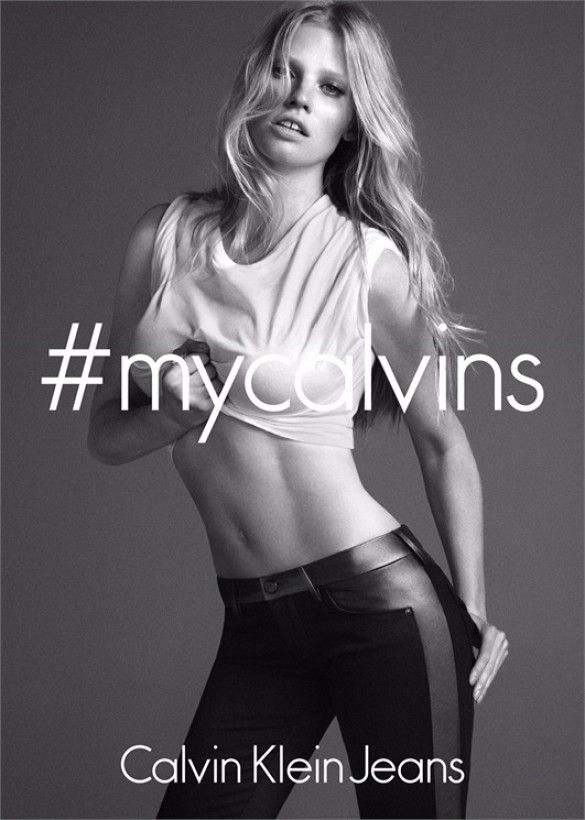Lara Stone looks stunning in these leather accented Calvin's. // #Fashion #Style