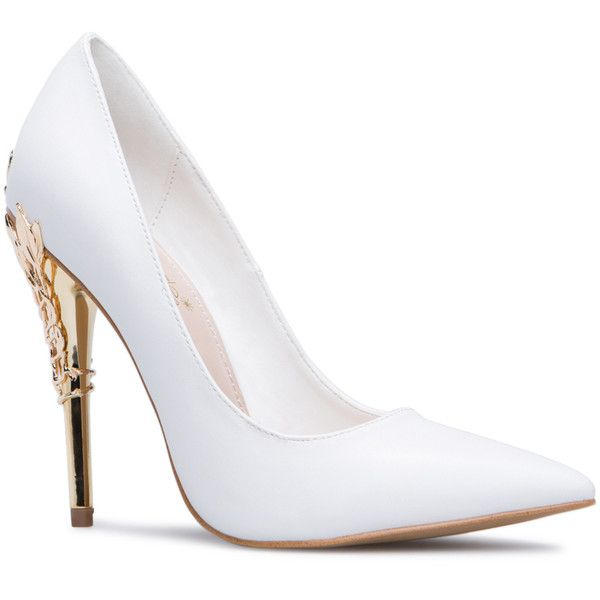 ShoeDazzle Pumps Esperanza Womens White ❤ liked on Polyvore featuring shoes, pumps, white, white court shoes, fancy shoes, dressy shoes, metallic shoes and white shoes