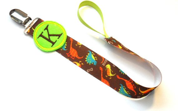 Monogram Pacifier Clip for Baby Boy Dinosaurs Paci Clip great for Twins  for all pacifiers you pick Soothie, Nuk, Mam Avent ect.. $8.50, via Etsy.