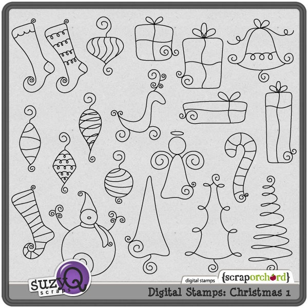 Christmas doodles. Could be used for embroidery, journaling, appliqué, etc...