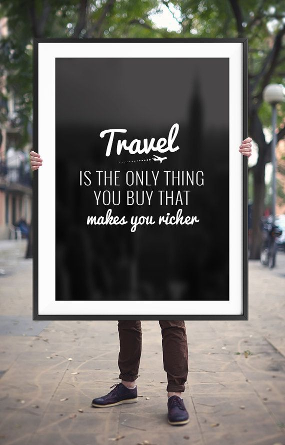 "Travel Quote Printable Poster ""Travel is the only thing you buy that makes you richer"" Inspirational Travel Wall Art *INSTANT DOWNLOAD*"