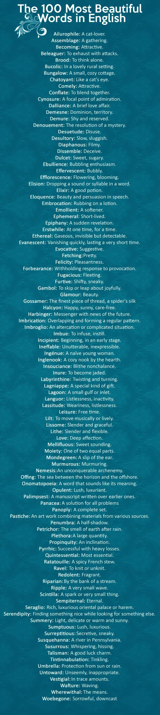 The most beautiful words in the English language via iwastesomuchtime #Words #Beautiful