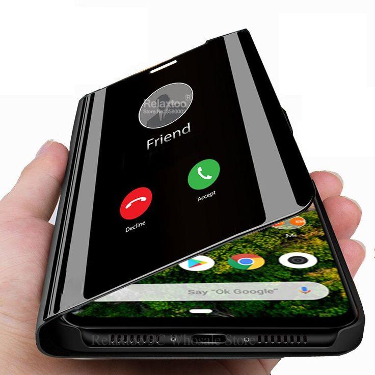 Mirror phone case for xiaomi mi a3 leather stand flip book
