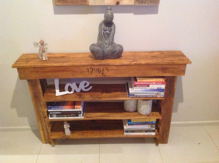 Made from Pallet wood, shelves for books, shoes etc. rustic.