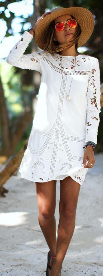 long sleeved white dress: