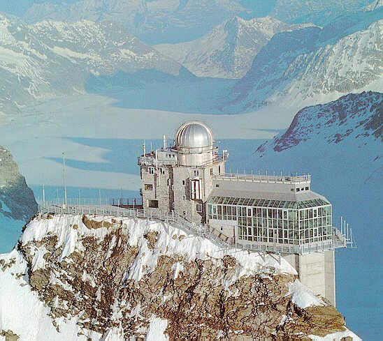 The observatory in Jungfraujoch, Switzerland. It is the terminal of a cog railway through the Eiger and Monch.