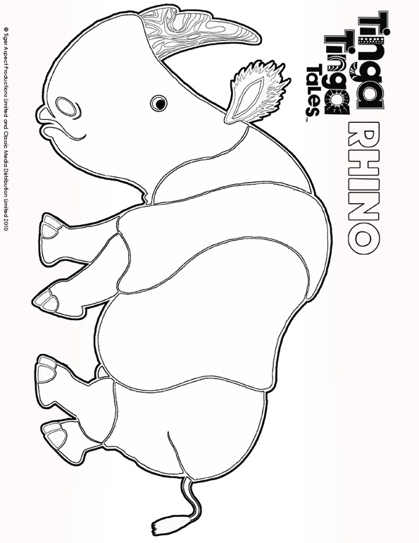 Tinga Tinga Tales Black and white picture of Rhino.