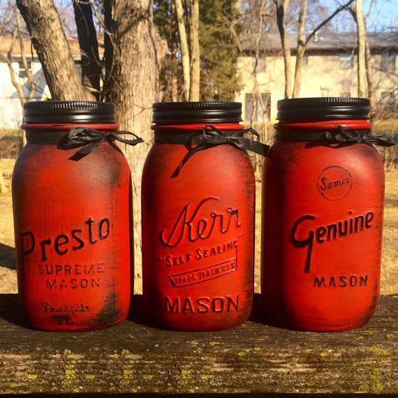 Vintage Red Mason jar canisters Rustic Red by AmericanaGloriana