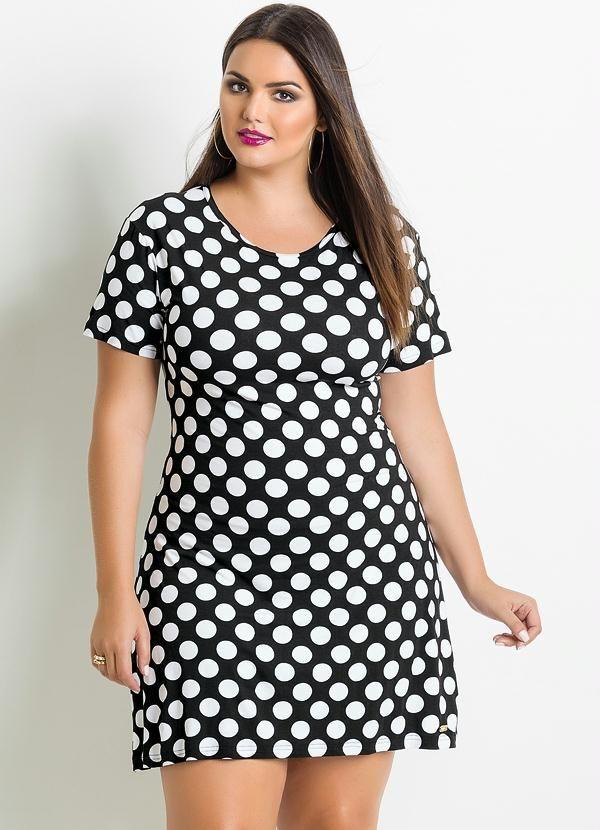 Vestido Poá Plus Size Preto e Branco - Posthaus