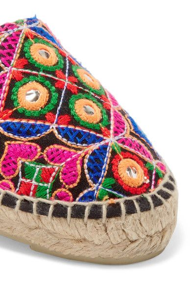 Manebi - Mirror-embellished Embroidered Canvas Espadrilles - Pink - IT36