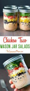 Chicken Taco Mason Jar Salads - The Seasoned Mom  #chicken #taco
