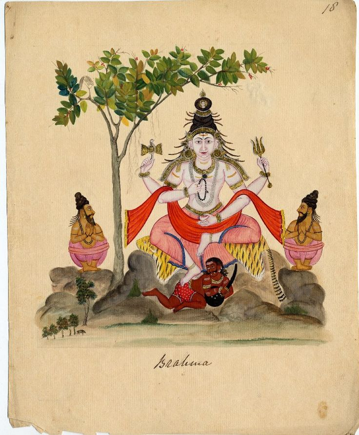 Śiva as Dakshinamūrti (the exemplary ascetic) sits in lalitasana on a tiger skin with his right foot placed on the back of the Apasmara purusha. Company School, 1820.