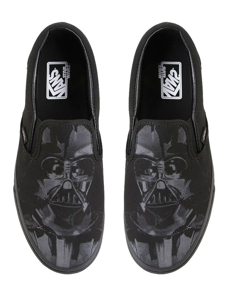 Star Wars fan won't miss this shoes! Classic Slip-On Sneaker Shoes by Vans. Classic slip on featuring a custom graphic of Darth Vader print. Black classic slip on with upper and lining, rubber sole. It's more than just a pair of shoes. http://www.zocko.com/z/JFuPo