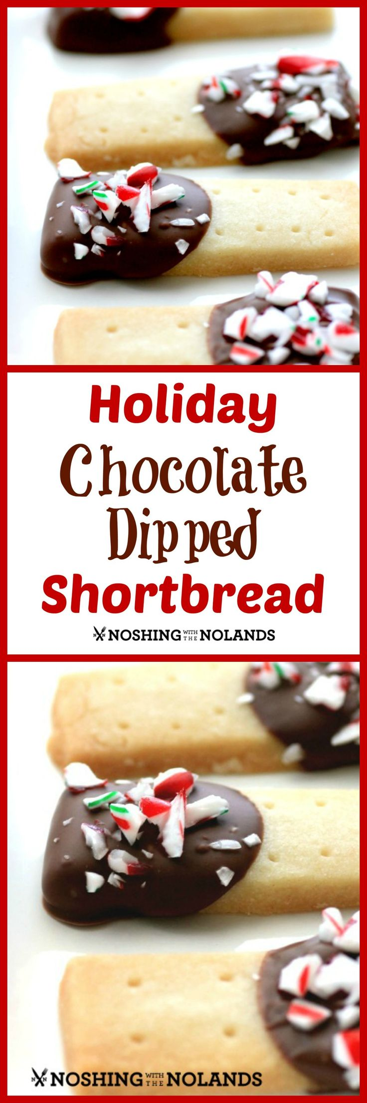 Holiday Chocolate Dipped Shortbread by Noshing With The Nolands is a fun Christmas shortbread that will be a hit on your cookie trays!!