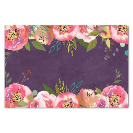Blooming Chic Color Editable Wedding Tissue Paper - tap, personalize, buy right now!  #illustrations #illustration #flower #floral #botanical #garden #girly #romantic