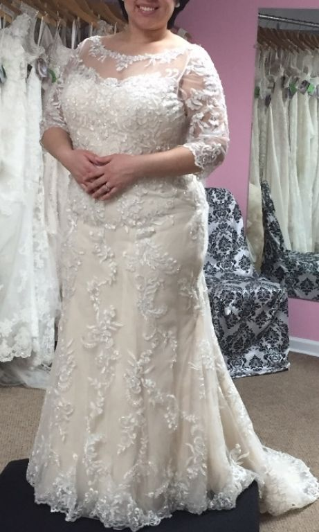 Beaded lace wedding dresses for the plus size bride can be customized by our dress design company.  We are near Dallas Texas and offer totally custom plus size wedding dresses for fuller figured brides.  If your dream dress is pricey we can also make a #replicadress for you that will look similar but cost less.  Get info on custom #weddingdresses when you visit us at wwww.DariusCordell.com