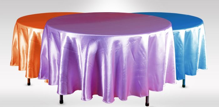 "Round Tablecloths  Satin and ‪#‎polyester‬ made available. 70"", 90"" 102"", 120"" & 132"" round ‪#‎tablecloths‬. Unique for ‪#‎wedding‬ parties and corporate ‪#‎business‬ occasions."