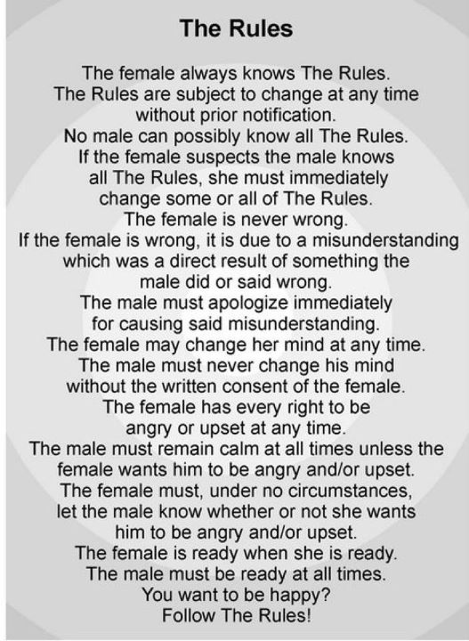 The Female Rules: Random Funny, Fun Stuff, Funny Shart, Funny Stuff, So True, Fav Quotes, Finding Funny, The Rules, Female Rules