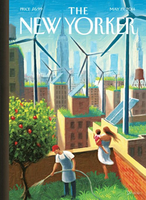 """""""A Bright Future"""" by Eric Drooker was cover of The New Yorker in May 2014. """"I painted a future that's completely achievable,"""" Eric Drooker said of the cover. """"All the technology for it already exists. What's lacking is the political power to make it happen. In New York especially, the city has so much potential. When you fly overhead, you see that New York's mostly a sea of flat, empty rooftops, with the streets in between as small alleys."""""""