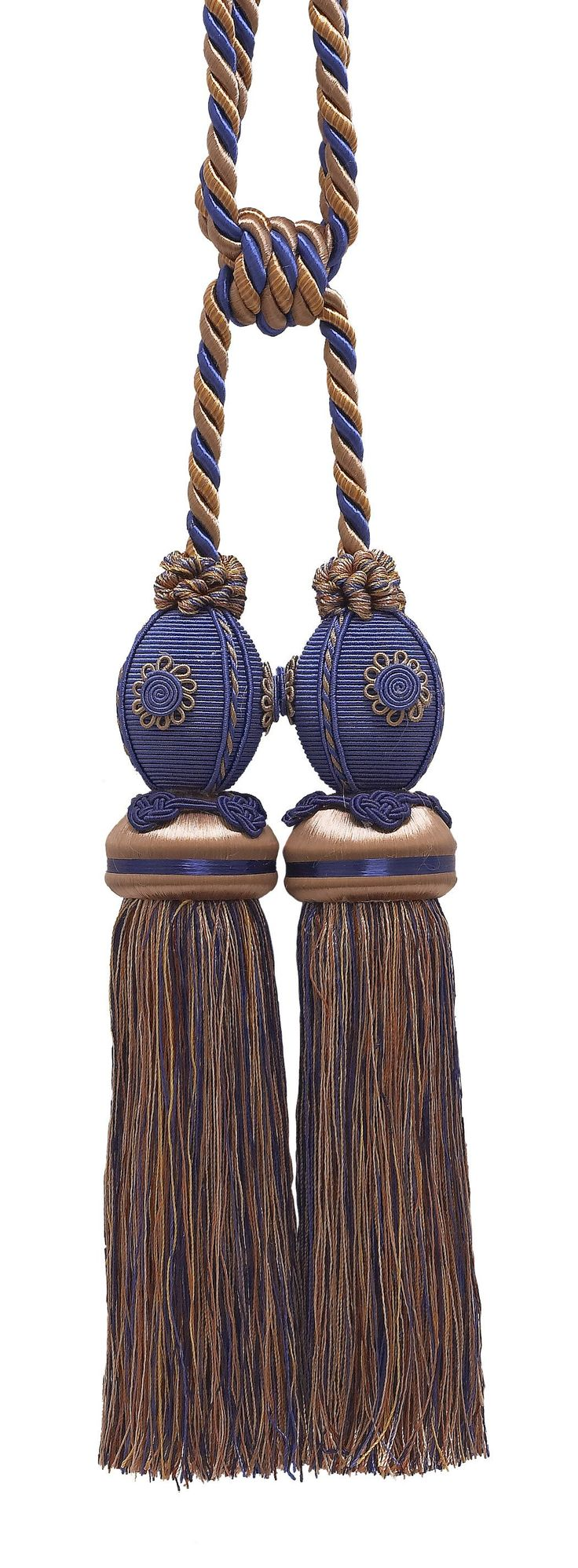 "Exquisite Ultramarine Blue, Tan Curtain & Drapery Double Tassel Tieback / 10"" tassel / 30.5"" Spread (embrace), 3/8"" Cord, Baroque Collection Style# TBB-2 Color: NAVY TAUPE 5817"