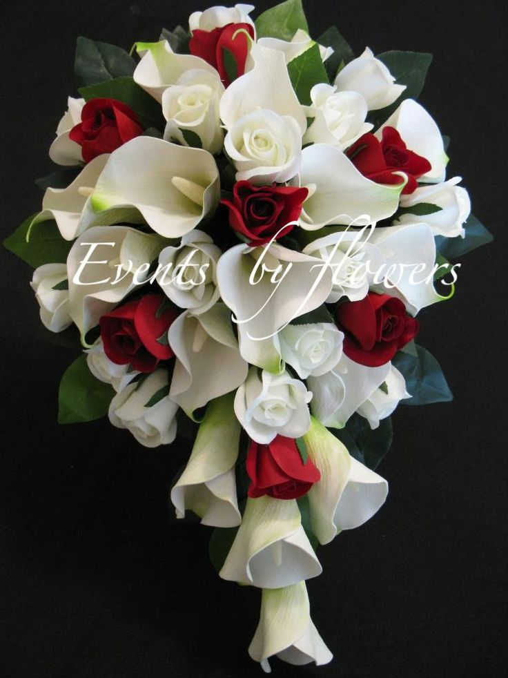 red calla and asiatic lily bouquet | Details about RED ROSES WHITE CALLA LILY WEDDING BOUQUET FLOWERS SET