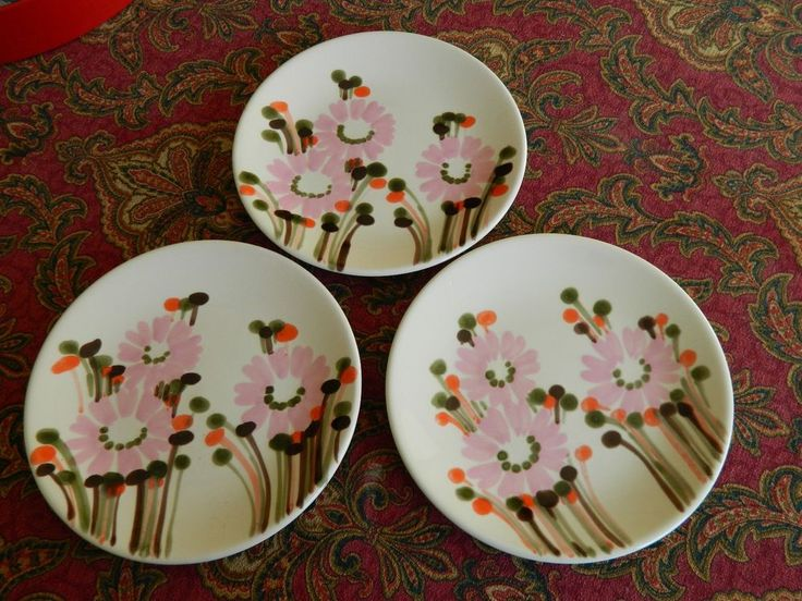 3 FABULOUS Hand Painted SIC Italy Mid Century Mod Pink Orange Daisy Salad Plates