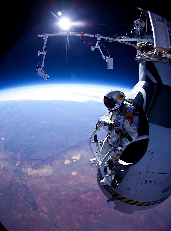 Felix Baumgartner preparing for his 13 mile skydive test jump in, he
