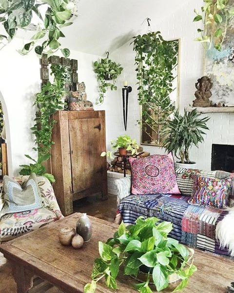 Rough natural wood, lots of easy-care plants, some color and a little black = chic, comfortable and cozy.