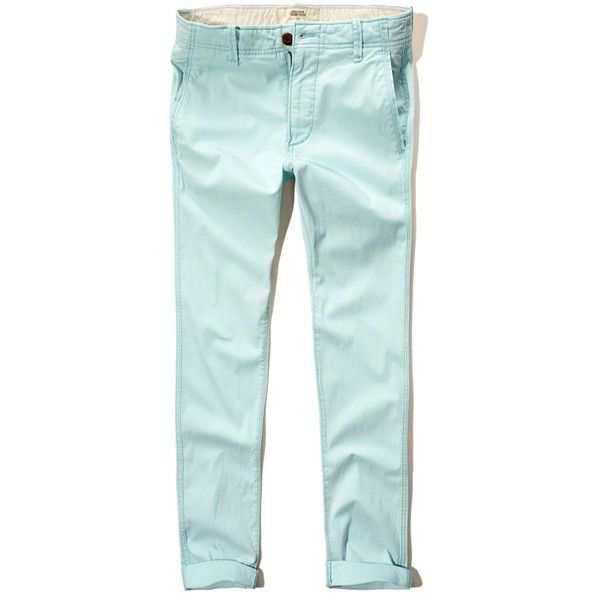 Hollister Skinny Ankle Zipper Fly Chinos (51 BRL) ❤ liked on Polyvore featuring men's fashion, men's clothing, men's pants, men's casual pants, light blue, mens skinny chino pants, mens chino pants, mens skinny pants, mens chinos pants and mens ankle zip pants