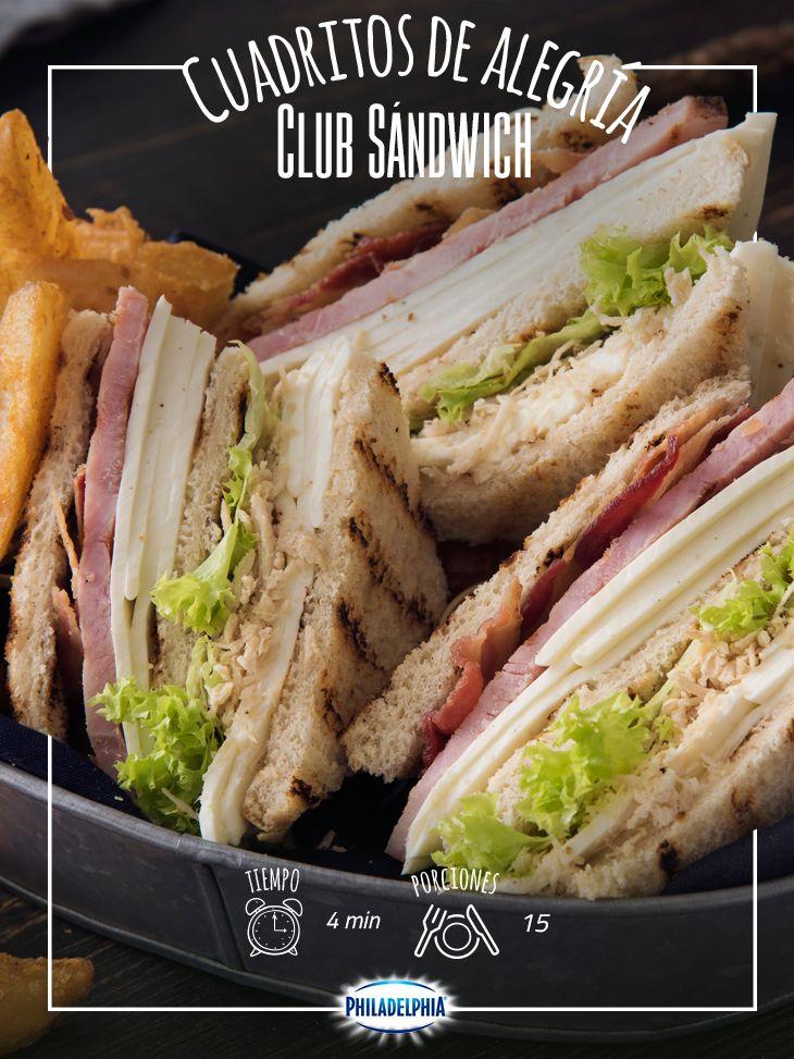 Disfruta la tarde con un delicioso Club sándwich. #quesophiladelphia #clubsandwich #sandwich #papasfritas #jamon