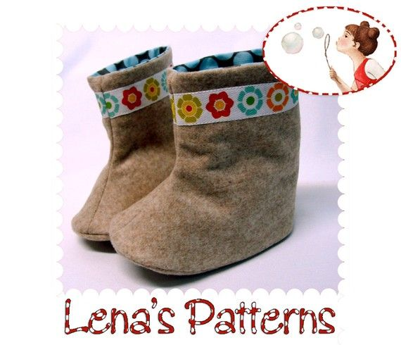 fairytale frocks and lollipops :: lena's patterns, flower power baby boots, bootie, infant boot, toddler boot, sewing, instant, fall, spring, winter, e-pattern, downloadable, pdf, e-book, tutorial