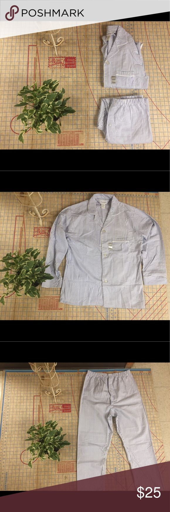 """Manhattan brand retro flannel pajamas size medium NWOT pinstripe flannel pajamas size medium. 100% cotton and so soft. Small blue and white pinstripe. Snap adjusters for pant's waist. Just like 1960s men's pajamas. I would keep but they're just a little too big for me. Shirt measures 29"""" in length and 21"""" across the chest. Pants have an adjustable waist, at their smallest they measure 15"""", Rise is 14"""" and inseam is 25"""". So much fun to wear. Unisex. Manhattan Other"""