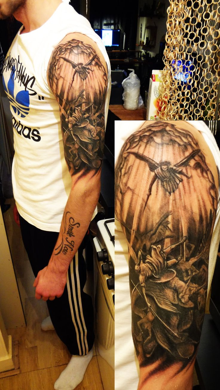 Amazing man left half sleeve fallen angel tattoo design for Angel half sleeve tattoo