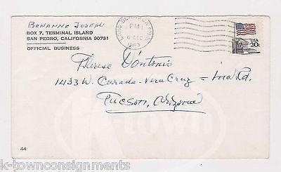 JOSEPH BONANNO NEW YORK MAFIA CRIME BOSS SIGNED PRISON MAIL COVER TO MISTRESS