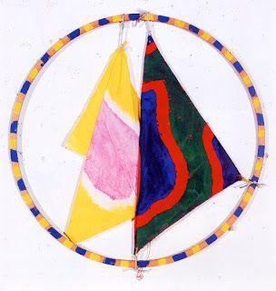 viallat/ cerceau et tissu peint, 1990, 80 cm