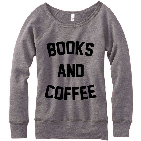 Metallic Gold Print Books and Coffee Wideneck Fleece Sweatshirt... found on Polyvore featuring tops, hoodies, sweatshirts, sweaters, grey, women's clothing, off the shoulder long sleeve top, sweater pullover, fleece pullover and long sleeve pullover