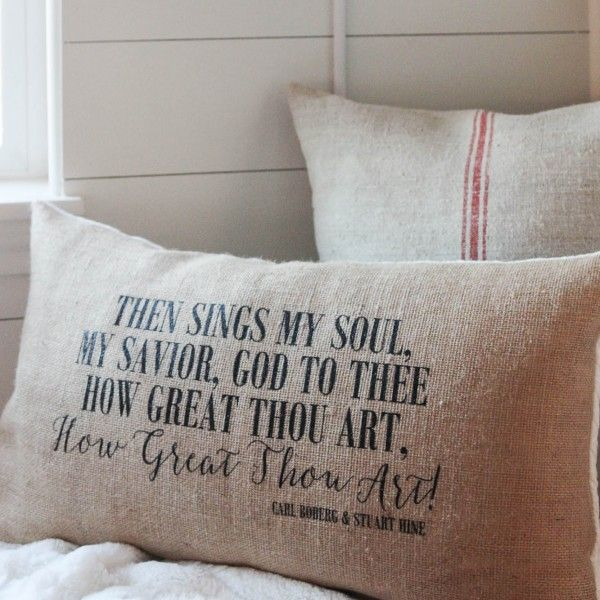 How Great Thou Art Pillow Handmade by The Wood Grain Cottage