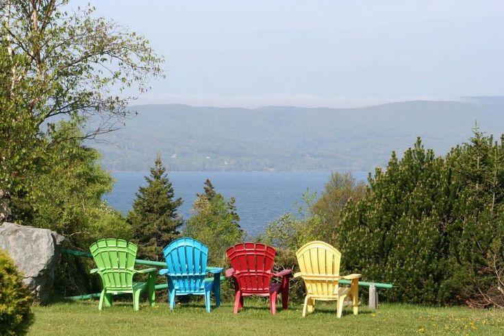 Adirondack chairs at a campground in Cape Breton, Nova Scotia